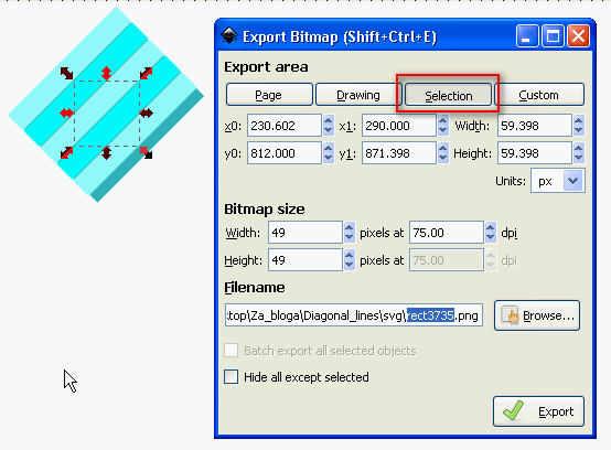 Inkscape export bitmap