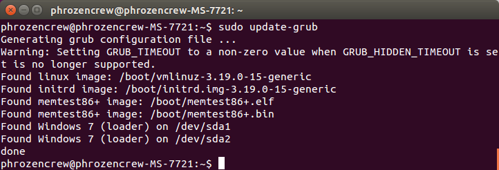 ubuntu opdate grub - Windows 7 dual boot