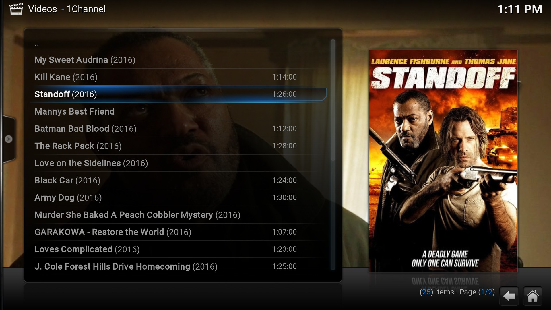 Kodi 1Channel Movies