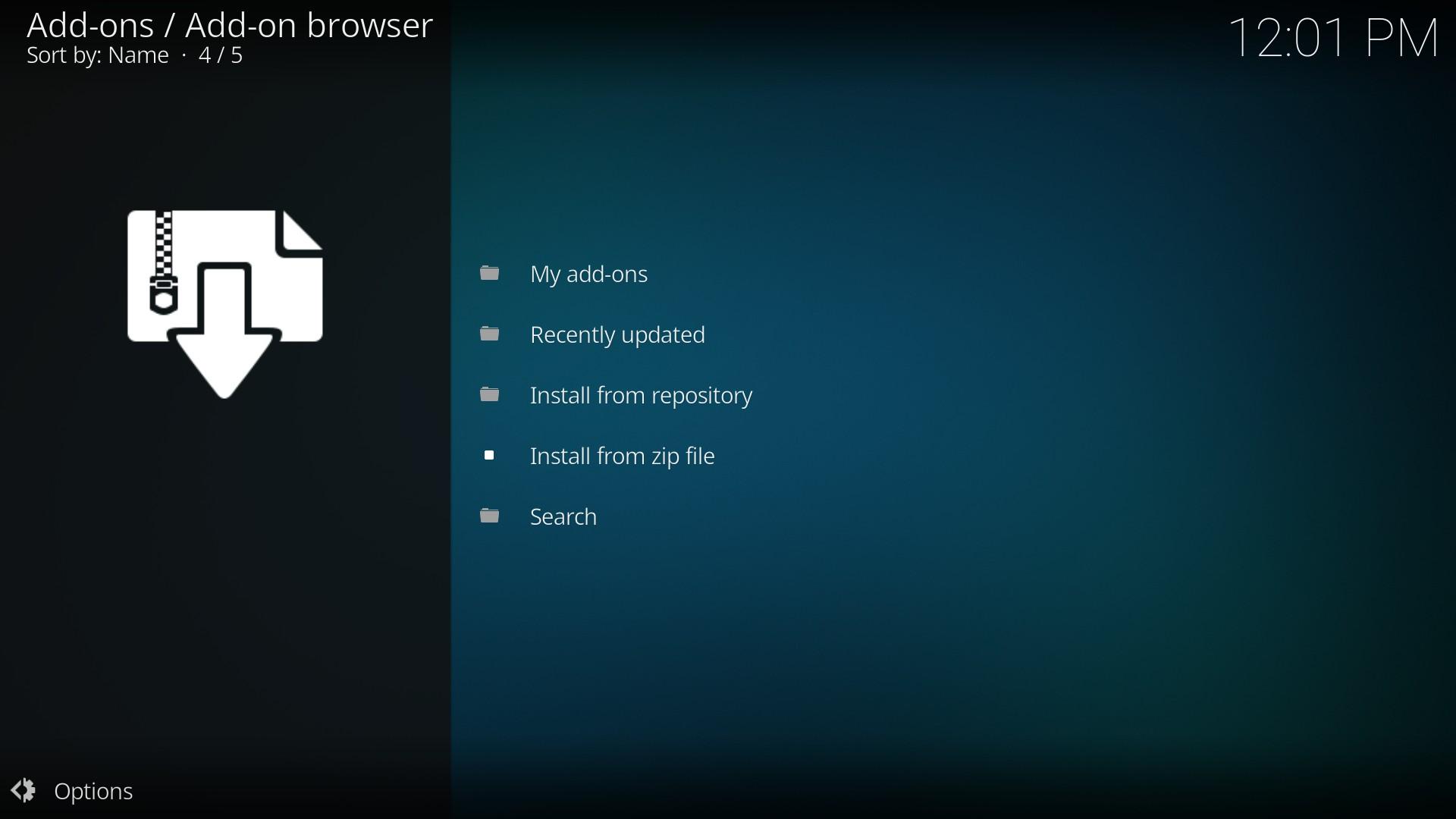 Kodi 17.4 Krypton - install from zip file