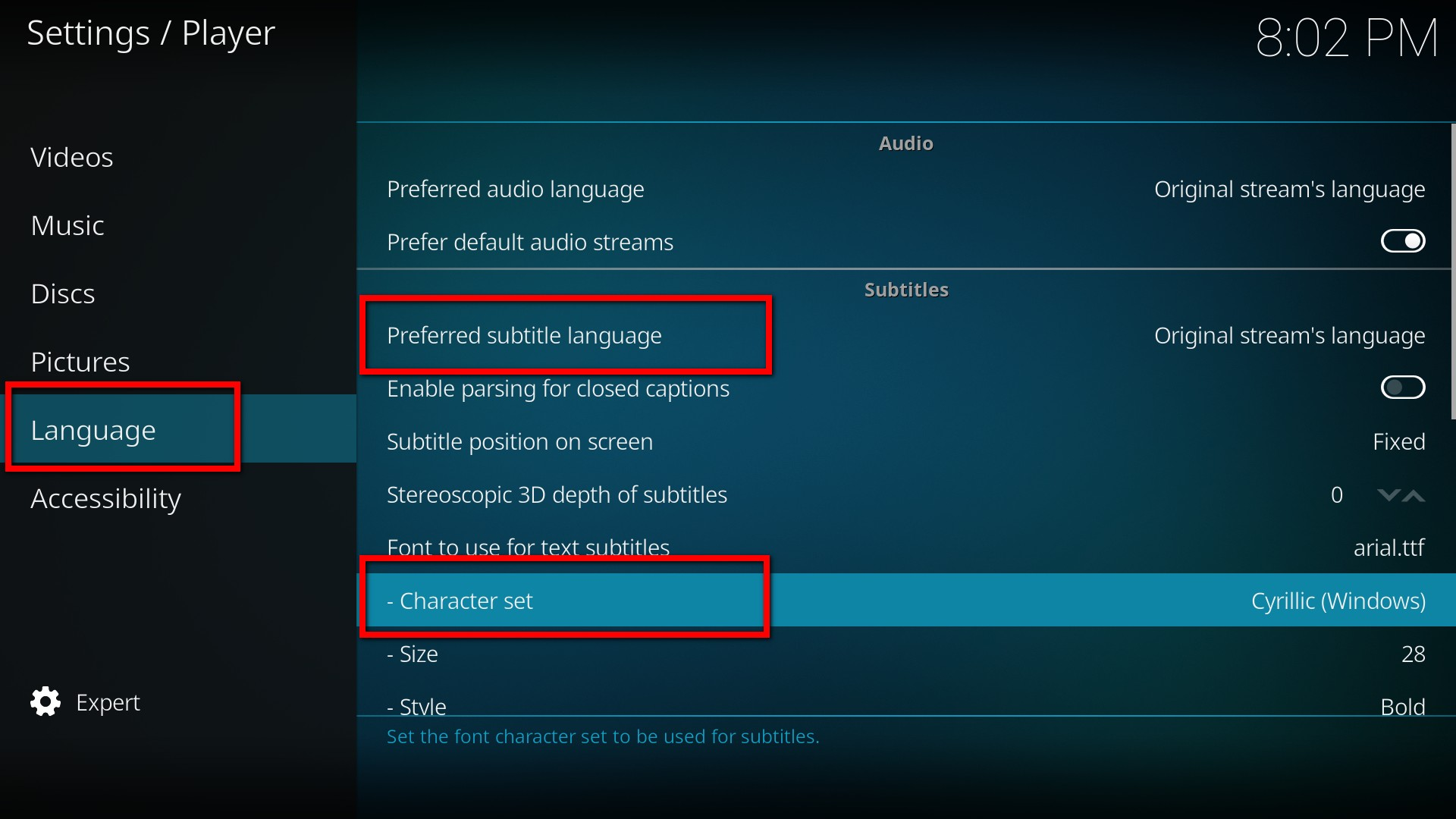 kody subtitles settings