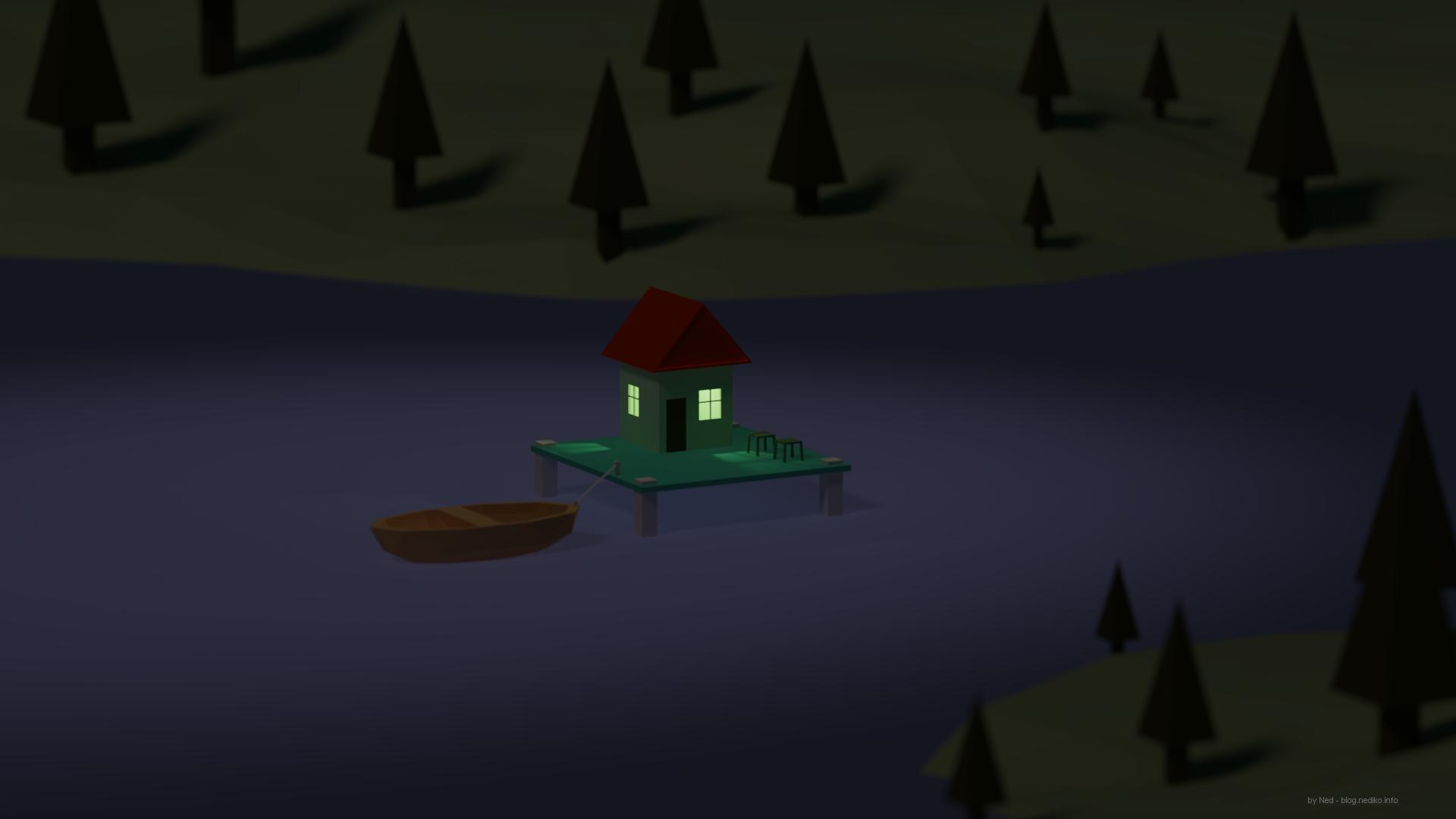 Blender 3D - къщичка в езеро
